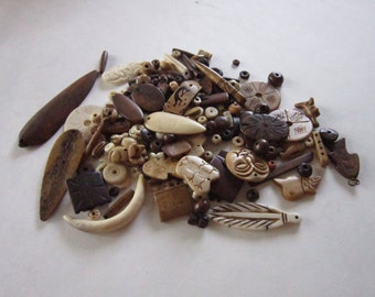 1/2 LB Assortment Buffalo Bone Beads mixed  Jewelry Crafts