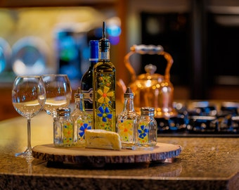 Wildflower Fused Glass Olive Oil & Vinegar Cruet Set