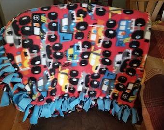 Big Trucks, Little Truck Fleece Tied Blanket