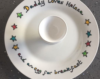 Father's day - personalised plate and egg cup