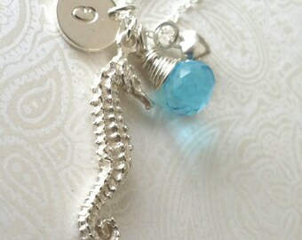Personalized Seahorse Necklace with Initial in Sterling Silver