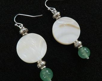 Jade earrings/natural stone earrings/shell jewelry/ boho jewelry/beaded earrings/Boho earrings/silver earrings/boho chic/Nature Inspired