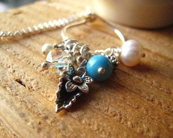 Charm Necklace, Sterling Silver, Vintage Turquoise, Natural Pearl, Karen Hill Tribe, Crystal Dangle, Sterling Spacers, Rolo Chain