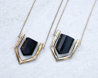 ARIEL / Raw Black Tourmaline Necklace, Black Tourmaline Jewelry, Natural Stone Necklace, Black Crystal necklace, Raw Black Tourmaline,