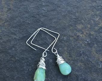 Green Opal Teardrops and Sterling Silver Square Hoops   Opal Earrings  Sterling Silver Square  Hoop Earrings Boho Jewelry  Gift for Mom