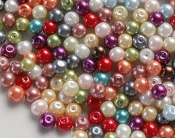 200 Pcs Glass 6mm Assorted Pearl Beads
