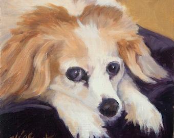 Waiting for Dinner, 6x6 Original Oil Painting on Panel by Alice Leggett