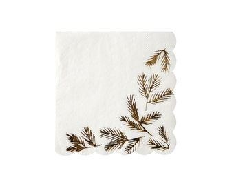 Gold Pine Small Paper Napkins by Meri Meri, Party Supplies, Tableware