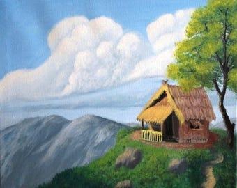 Dreamy cabin on a hillside
