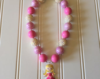 Sleeping Beauty Necklace - Princess Aurora Necklace - Disney Princess Necklace - Chunky Princess Necklace - Sleeping Beauty Outfit -