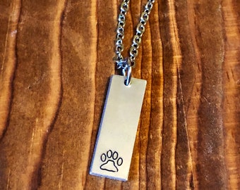 Bar Necklace•Hand Stamped Jewelry•Bar Jewelry•Gifts for Her•Pet Lover Jewelry•Paw Print Necklace•Paw Print Jewelry•Best Friend Gift
