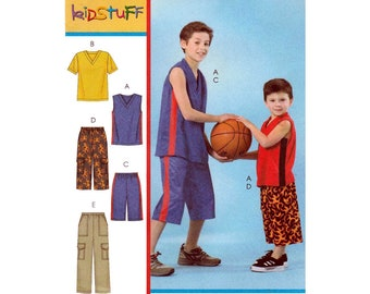 Boys' Tank Top, Short Sleeve T-Shirt, Elastic Waist Shorts and Pants Sewing Pattern Child Size 3-4-5-6 Uncut McCall's M4820