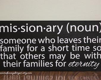 Missionary (noun) verse | Wood sign saying Vinyl home decor, Mormon LDS decor, missionary gift, returned missionary sign