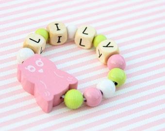 Beaded bracelet - kids bracelet - toddler bracelet - wooden bead bracelet - kids jewelry - personalized  bracelet - toddler jewelry
