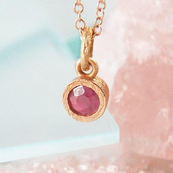 Ruby Jewelry Set Rose Gold Jewelry Set Red Gemstone