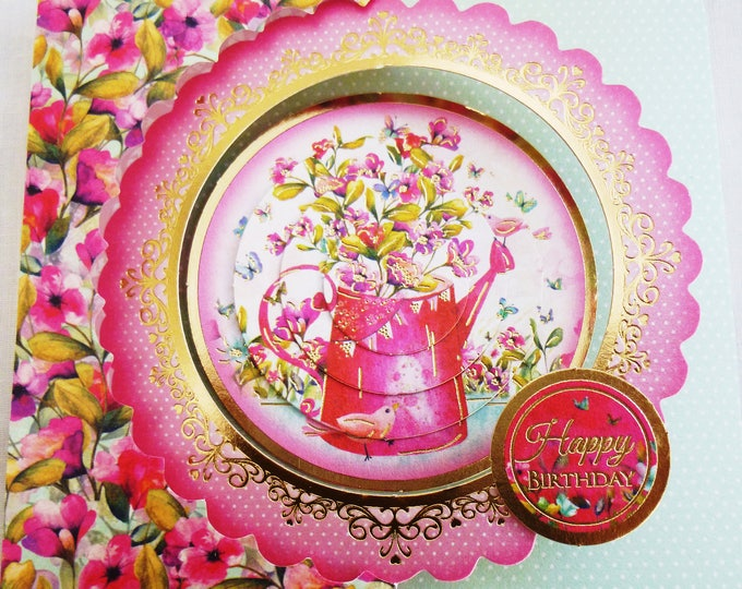 3 D Pyramid Decoupage, Flowers, Floral Birthday Card, Female, Any Age, Mother, Sister, Daughter, Niece, Aunt