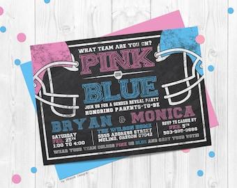 Football Gender Reveal Invitation, pink vs blue, chalkboard, gender reveal, reveal invitation, football gender reveal party, reveal party