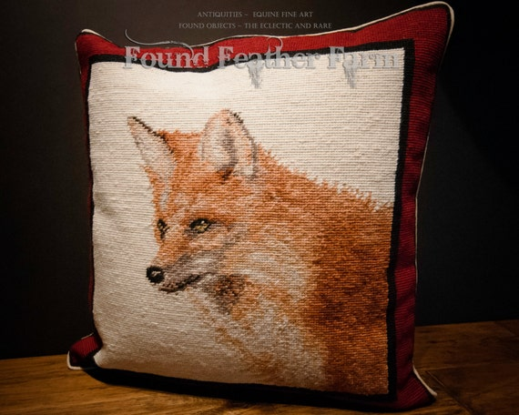 Handmade Wool Needlepoint Pillow of a Red Fox with Down Fill