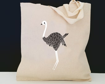 Personalized Ostrich Tote Bag (FREE SHIPPING), 100% Cotton Canvas Ostrich Tote Bag, Ostrich Tote Bag, Ostrich Gifts, Tote, Ostrich Tote Bag