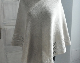 High-quality Natural 100% Linen knitted poncho with big neck(handmade)
