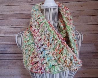 Multi Colored Crocheted Cowl