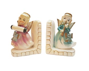 Vintage Angel Bookends, Made in Japan, Porcelain Book Ends, Vintage Bookends, Christmas Gift for Her