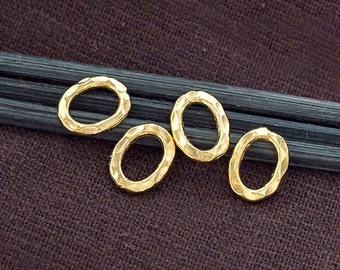 4 of Karen hill tribe 24k Vermeil Style Hammered Closed Jump Rings 8x11 mm. :vm0827