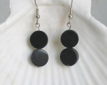 Blackstone Disc Hanging Earrngs
