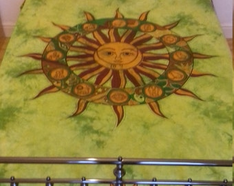 Hand Dyed Pure Cotton Wall Hanging Manadala Double Bed Sheet Throw Green Brown Zodiac Tie Dye Student Room Beach Towel