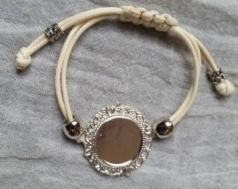 fancy personalised waxed cotton bracelet