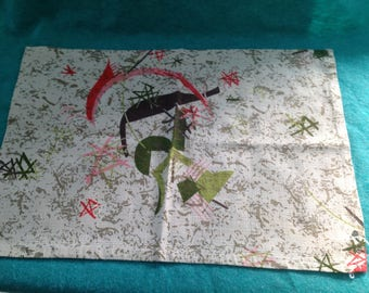 Vintage Bark Cloth Pair of Abstract Design Small Bureau Scarfs