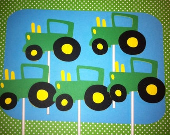Set of 12 Tractor Cupcake Toppers, Farm Theme Party Decorations, farm  Birthday, Barnyard Birthday, Tractor Baby Shower,