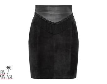 1990's Leather High Waisted Skirt
