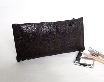 Black ray skin embossed  clutch wallet purse pencil case handmade silver leather purse zippered pouch make up case