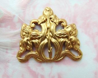 BRASS * Art Nouveau Iris Flower Stamping ~ Jewelry Findings ~ Brass Stamping (FB-6045)