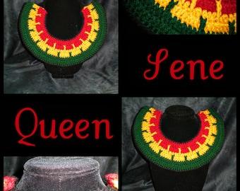 QUEEN SENE - Crochet Tribal Necklace (Neck warmer, african, ethnic, jewelry)