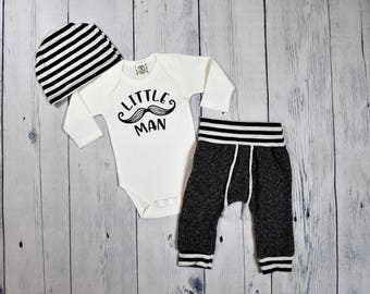 Little Man Coming Home Outfit Baby Boy Outfit Newborn Boy Take Home Outfit Coming Home Set Mustache Outfit Take Me Home Set