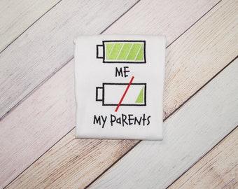 Parents Low Battery Shirt - Kids Full Battery - Girls Shirt - Boys Shirt - Funny Kids Shirt - Funny Energetic Toddler Shirt