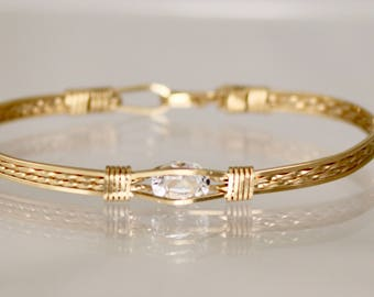 White Topaz 14 Kt Gold Filled Bracelet