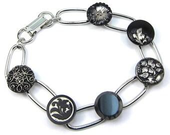 Silver Czech Glass Button Bracelet, Free US Shipping