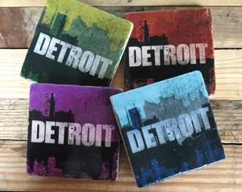 Set of 4 Detroit skyline distressed logo in Multicolor, Coaster with cork backing