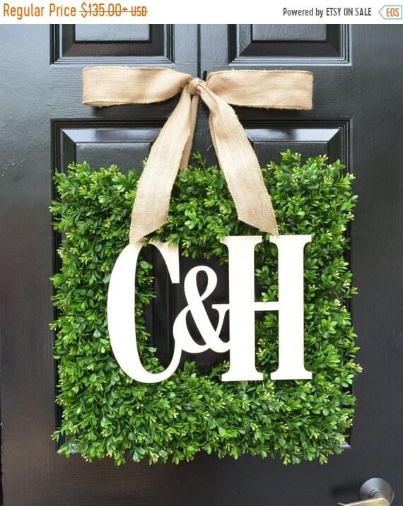 SUMMER WREATH SALE Custom Monogram Square Boxwood Wreath, Fall Boxwood Monogram Wreaths, Outdoor Door Wreath, Housewarming Gift, Wedding Wre