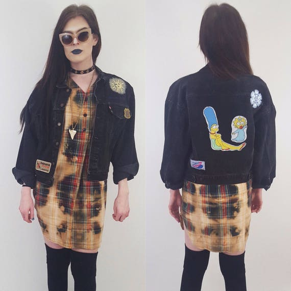 90s Denim The Simpsons Backpatch Jean Jacket - Black Medium Upcycled Vtg Coat with 80s Back Patch - Womens Grunge Fall Fashion Outerwear