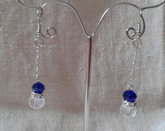 """blue and transparent duo"" earrings"