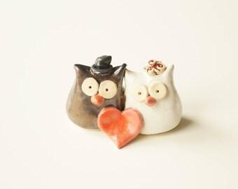 Owl Wedding Cake Topper, Ceramic Owls, Unique wedding cake topper