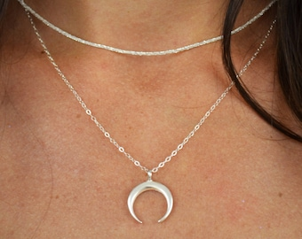 Sterling Silver Crescent Moon Necklace    14k Gold Filled Crescent Moon Necklace