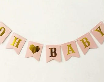 OH BABY baby shower banner bunting pink with gold letters metallic party decorations