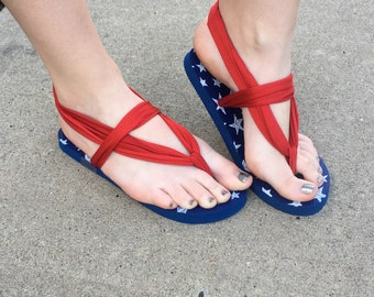 Red, white, and blue flip-flop sandals! Perfect for 4th of July! Women's size small