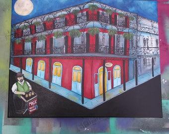 French Quarter Original 16 x 20 Acrylic Painting Art New Orleans Magician NOLA Magic Royal Street Performer Busker Wizard