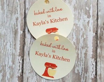 Baked with Love in My Kitchen, From My Kitchen to Yours, Mixer Baked Goods Tag, Christmas Tags, Food Label, Jar Tag, Holiday Food Tags (094)